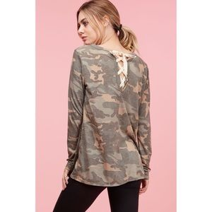 Camouflage Lace Up Top